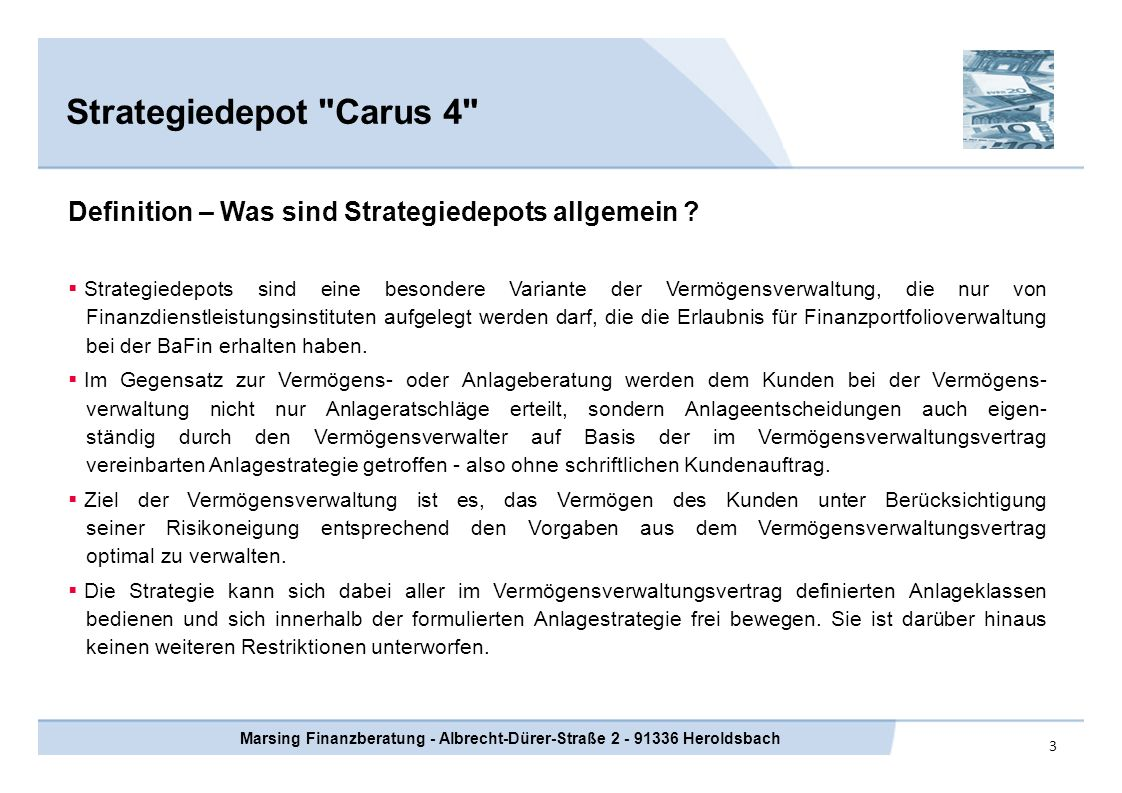 4 Strategiedepot Carus 4 Marsing Finanzberatung - Albrecht-Dürer-Straße 2 - 91336 Heroldsbach Wer steckt hinter der Strategie Carus 4 .
