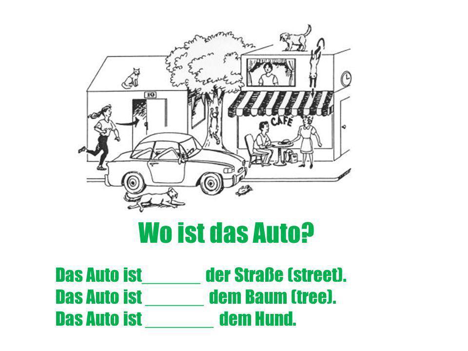 Wo ist das Auto? Das Auto ist______ der Straße (street). Das Auto ist ______ dem Baum (tree). Das Auto ist _______ dem Hund.