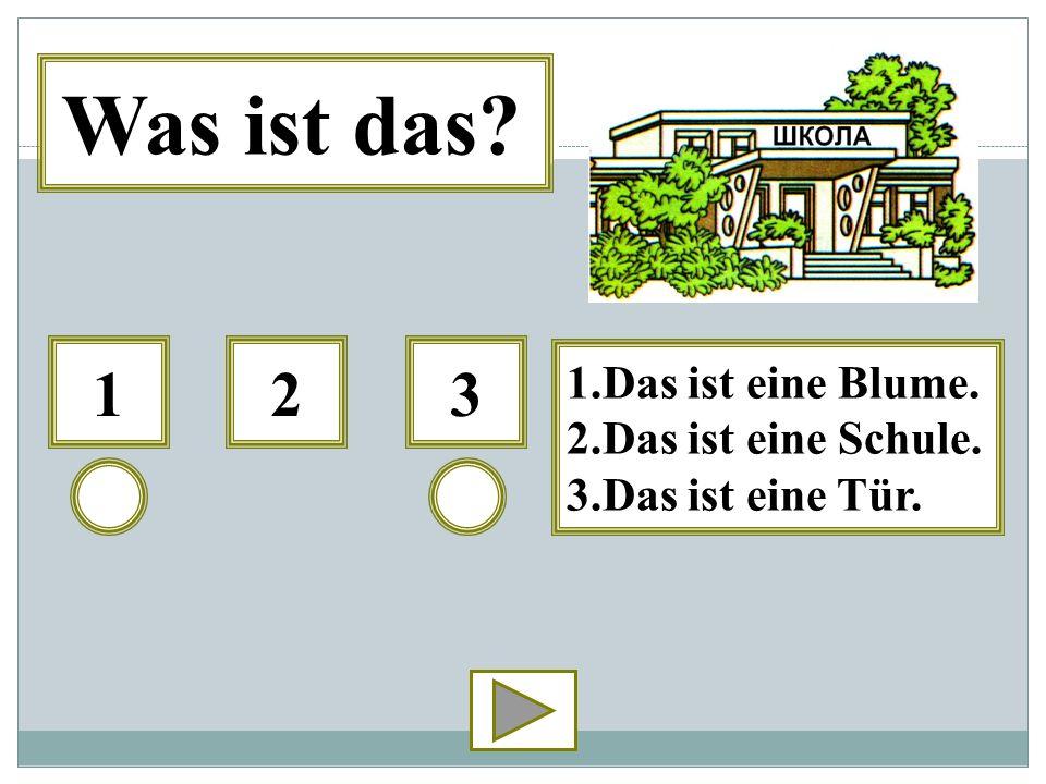312 1.Das ist eine Blume. 2.Das ist eine Schule. 3.Das ist eine Tür. Was ist das?