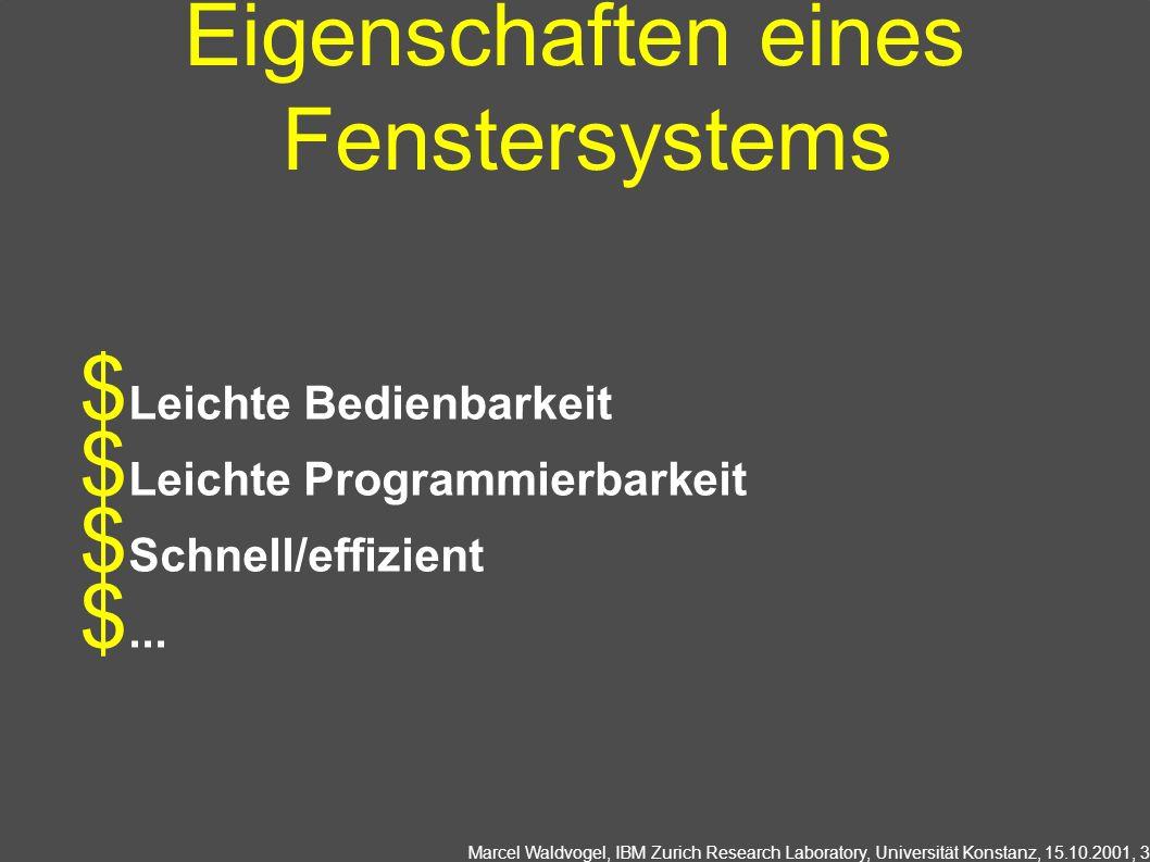 Marcel Waldvogel, IBM Zurich Research Laboratory, Universität Konstanz, 15.10.2001, 3 Eigenschaften eines Fenstersystems Leichte Bedienbarkeit Leichte