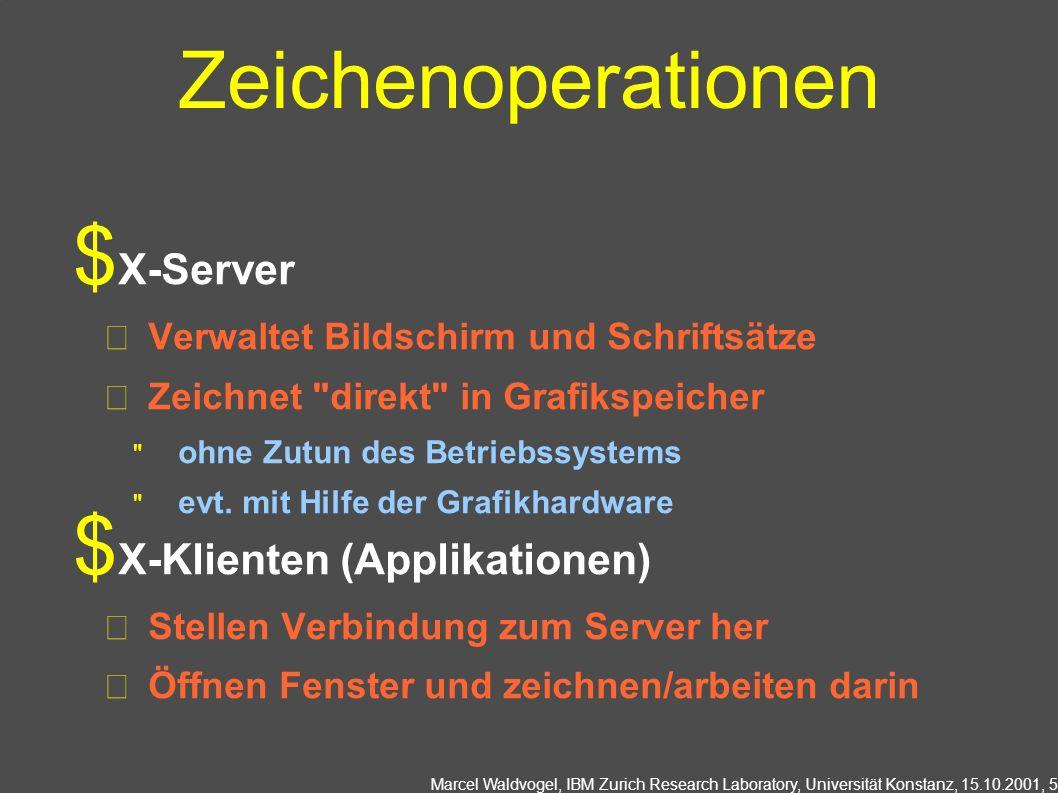 Marcel Waldvogel, IBM Zurich Research Laboratory, Universität Konstanz, 15.10.2001, 6 X11: Widgets Zeichen-, Bedienelemente Fenster, Dialoge, Textfelder, Knöpfe, Menus,...