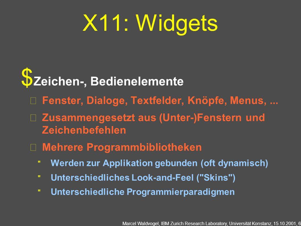 Marcel Waldvogel, IBM Zurich Research Laboratory, Universität Konstanz, 15.10.2001, 6 X11: Widgets Zeichen-, Bedienelemente Fenster, Dialoge, Textfeld