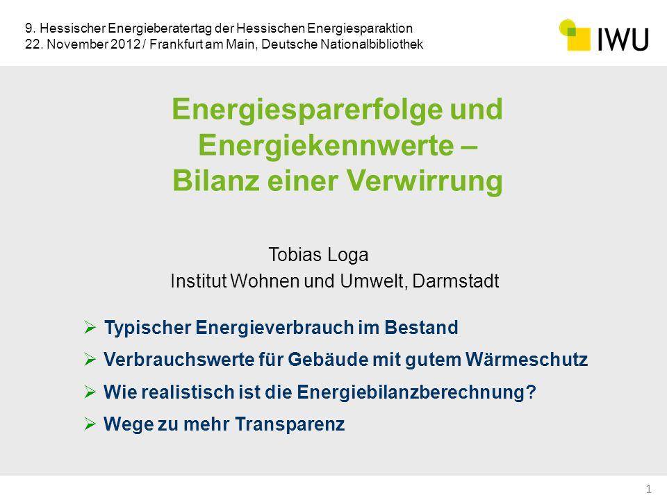 Bilanzierungsverfahren / Energiekennwert Anwendung (1)Norm-Berechnung Standard-Randbedingungen behördlicher Nachweis / Vergleich von Gebäuden (2)Individuell angepasste Berechnung Anpassung der Berechnung an den gemessenen Verbrauch Energieberatung: Voraussage der für das konkrete Gebäude zu erwartenden Energieeinsparung (3)Erwartungswert des Verbrauchs: Abbildung des typischen Energieverbrauchs Abgleich der Energiebilanzberechnung mit statistisch erhobenen Verbrauchs-Benchmarks Energieberatung: realistische Aussagen, für den Fall, dass Verbrauchswert im Ist-Zustand nicht bekannt erwarteter Kennwert nach Modernisierung: Vergleichsgröße für Verbrauchs-Monitoring Berechnete Energiekennwerte 22