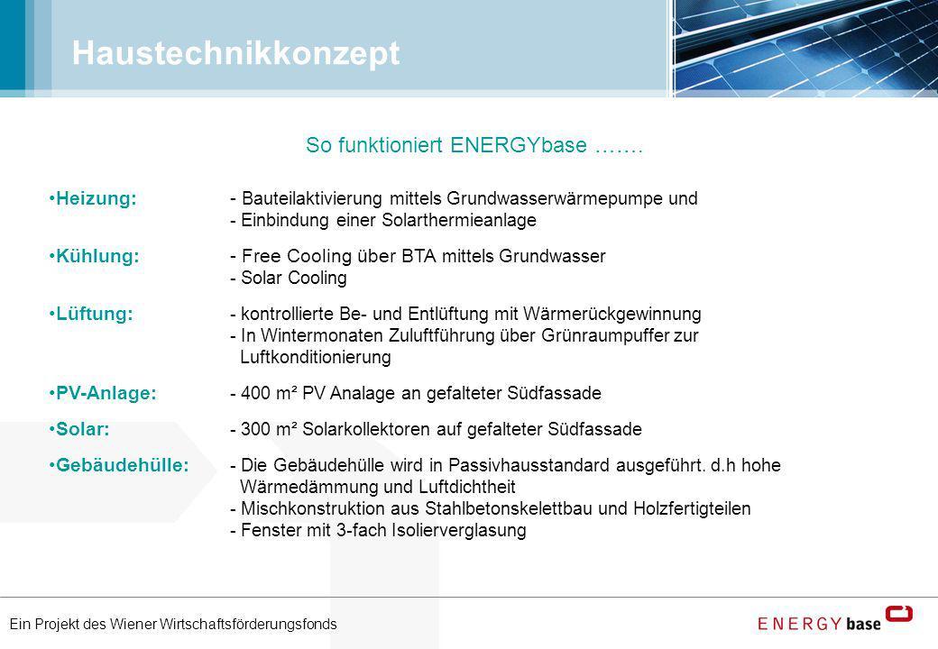 Ein Projekt des Wiener Wirtschaftsförderungsfonds Haustechnikkonzept Heizung:- Bauteilaktivierung mittels Grundwasserwärmepumpe und - Einbindung einer