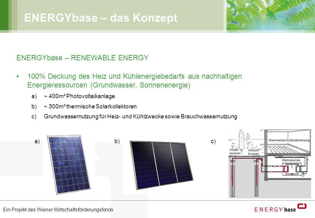 Ein Projekt des Wiener Wirtschaftsförderungsfonds ENERGYbase – das Konzept ENERGYbase – RENEWABLE ENERGY 100% Deckung des Heiz und Kühlenergiebedarfs