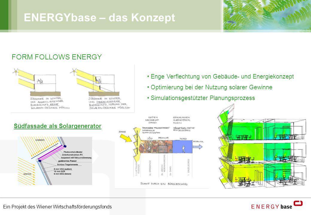 Ein Projekt des Wiener Wirtschaftsförderungsfonds ENERGYbase – das Konzept FORM FOLLOWS ENERGY Enge Verflechtung von Gebäude- und Energiekonzept Optim
