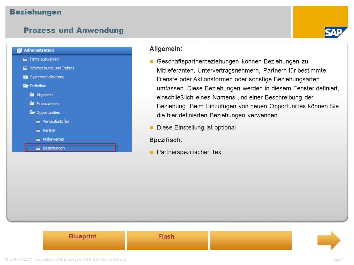 SAP AG 2011, Introduction to SAP Business One 8.8, GTM Rollout Services Page 9 Beziehungen Prozess und Anwendung Allgemein: Geschäftspartnerbeziehungen können Beziehungen zu Mitlieferanten, Untervertragsnehmern, Partnern für bestimmte Dienste oder Aktionsformen oder sonstige Beziehungsarten umfassen.