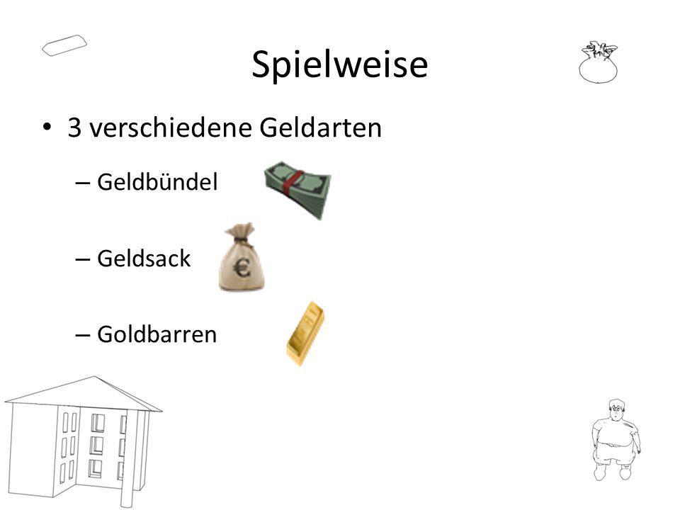 Spielweise 3 verschiedene Geldarten – Geldbündel – Geldsack – Goldbarren