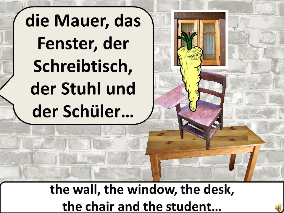 the wall, the window, the desk and the chair… die Mauer, das Fenster, der Schreibtisch und der Stuhl…
