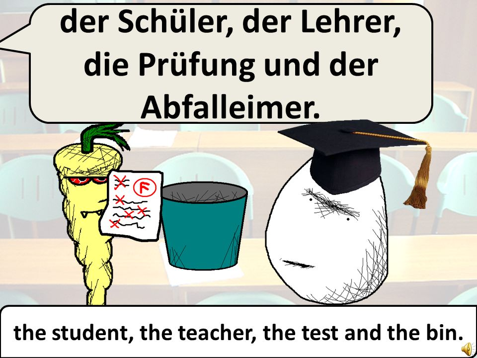 the student, the teacher, the test and the bin.
