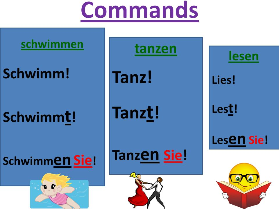 Command Examples with Separable Prefix Verbs Du siehst fern.