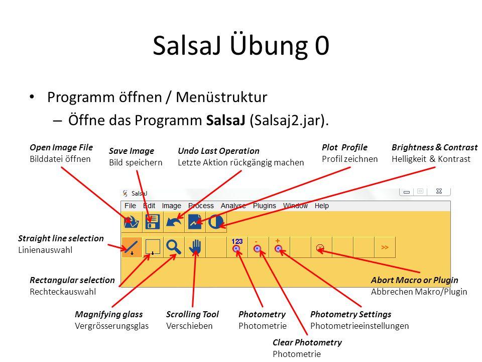 SalsaJ Übung 0 Programm öffnen / Menüstruktur – Öffne das Programm SalsaJ (Salsaj2.jar). Open Image File Bilddatei öffnen Save Image Bild speichern Un