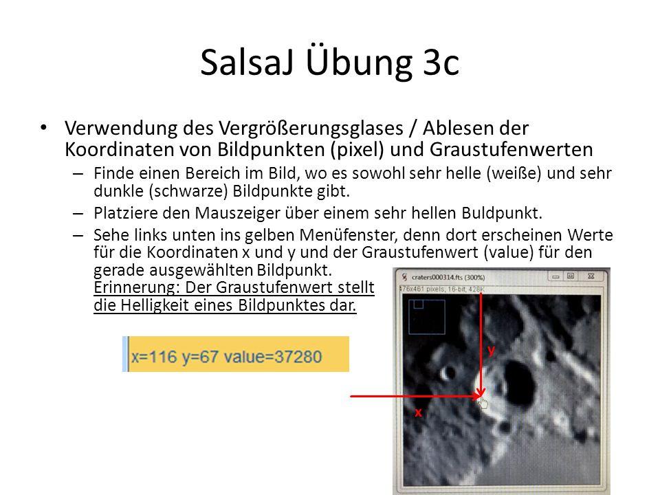 SalsaJ Übung 3c Verwendung des Vergrößerungsglases / Ablesen der Koordinaten von Bildpunkten (pixel) und Graustufenwerten – Finde einen Bereich im Bild, wo es sowohl sehr helle (weiße) und sehr dunkle (schwarze) Bildpunkte gibt.