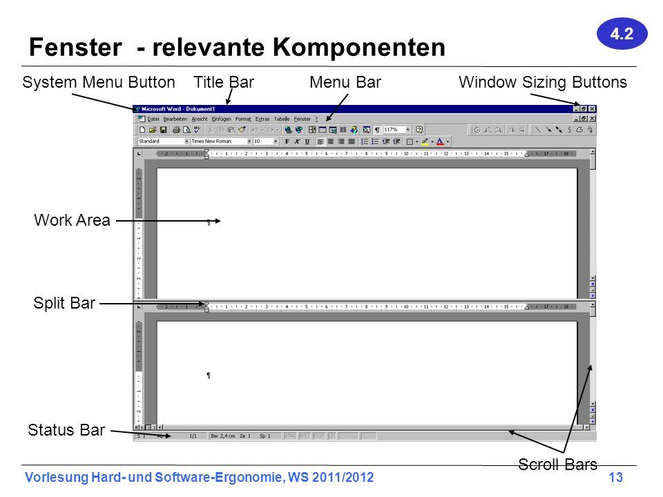 Vorlesung Hard- und Software-Ergonomie, WS 2011/2012 13 Fenster - relevante Komponenten Title Bar Work Area Menu Bar Split Bar Window Sizing Buttons S