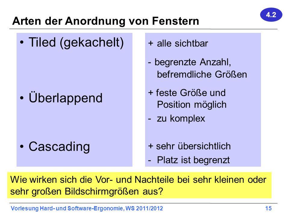 Vorlesung Hard- und Software-Ergonomie, WS 2011/2012 15 Arten der Anordnung von Fenstern Tiled (gekachelt) Überlappend Cascading + alle sichtbar - beg
