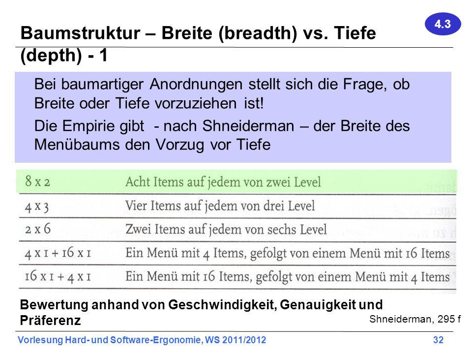Vorlesung Hard- und Software-Ergonomie, WS 2011/2012 32 Baumstruktur – Breite (breadth) vs. Tiefe (depth) - 1 Bei baumartiger Anordnungen stellt sich