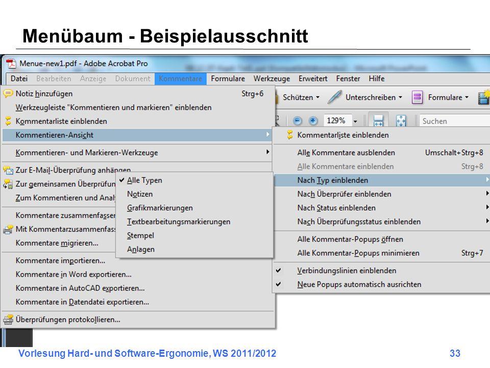Vorlesung Hard- und Software-Ergonomie, WS 2011/2012 33 Menübaum - Beispielausschnitt
