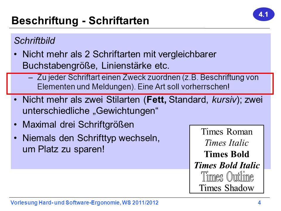 Vorlesung Hard- und Software-Ergonomie, WS 2011/2012 4 Beschriftung - Schriftarten Schriftbild Nicht mehr als 2 Schriftarten mit vergleichbarer Buchst