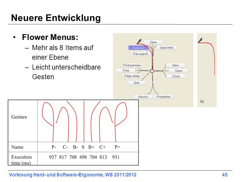Vorlesung Hard- und Software-Ergonomie, WS 2011/2012 45 Neuere Entwicklung Flower Menus: –Mehr als 8 Items auf einer Ebene –Leicht unterscheidbare Ges