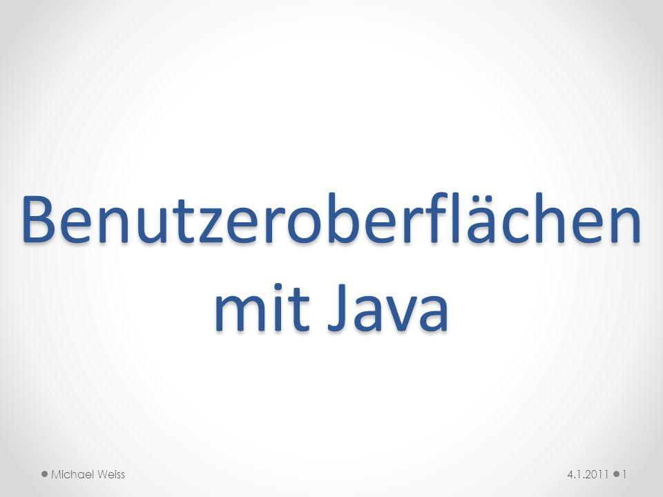 import javax.swing.*; /** * @author Michael Weiss * @version 4.1.2011 */ public class Uhr { private JFrame hatJFrame; public Uhr() { hatJFrame = new JFrame( Fenster ); hatJFrame.setVisible(true); // <- vorher sieht man gar nichts.