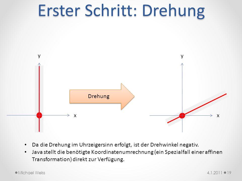 Erster Schritt: Drehung 194.1.2011Michael Weiss x y Drehung x y Da die Drehung im Uhrzeigersinn erfolgt, ist der Drehwinkel negativ. Java stellt die b