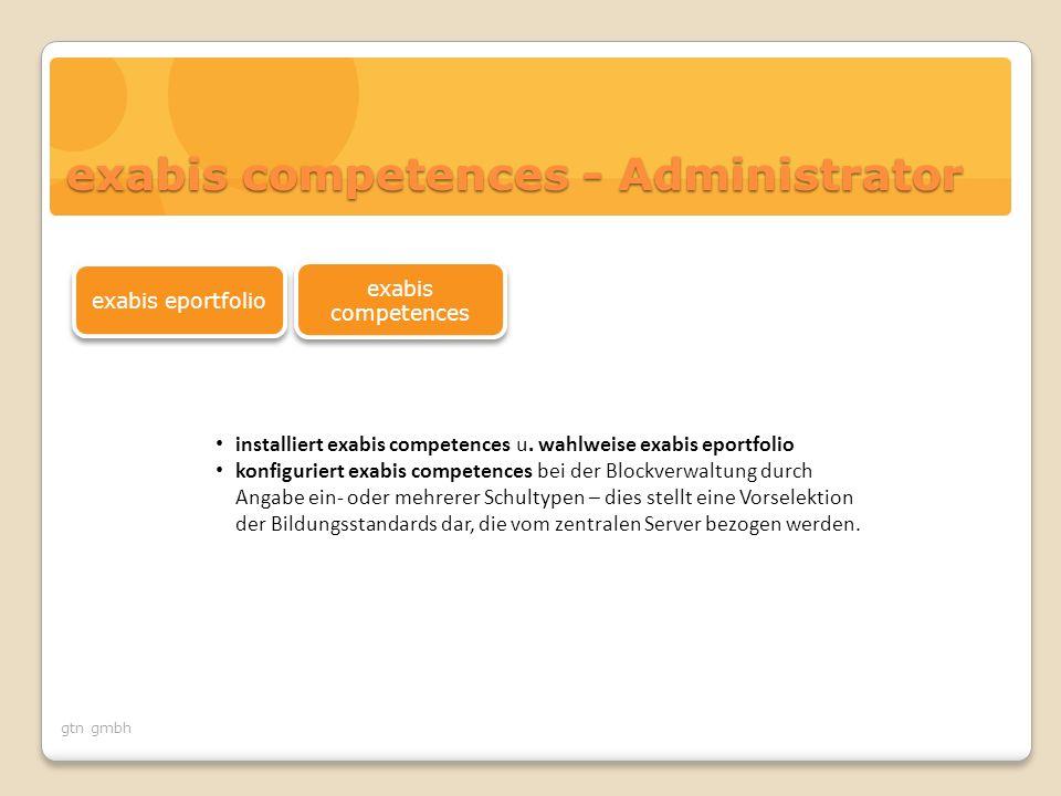 gtn gmbh aktiviert exabis competences block im Kurs konfiguriert einmalig je Kurs den exabis-competences-Block im Kurs indem die Gegenstände (z.B.