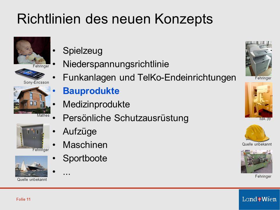 Richtlinien des neuen Konzepts Spielzeug Niederspannungsrichtlinie Funkanlagen und TelKo-Endeinrichtungen Bauprodukte Medizinprodukte Persönliche Schu