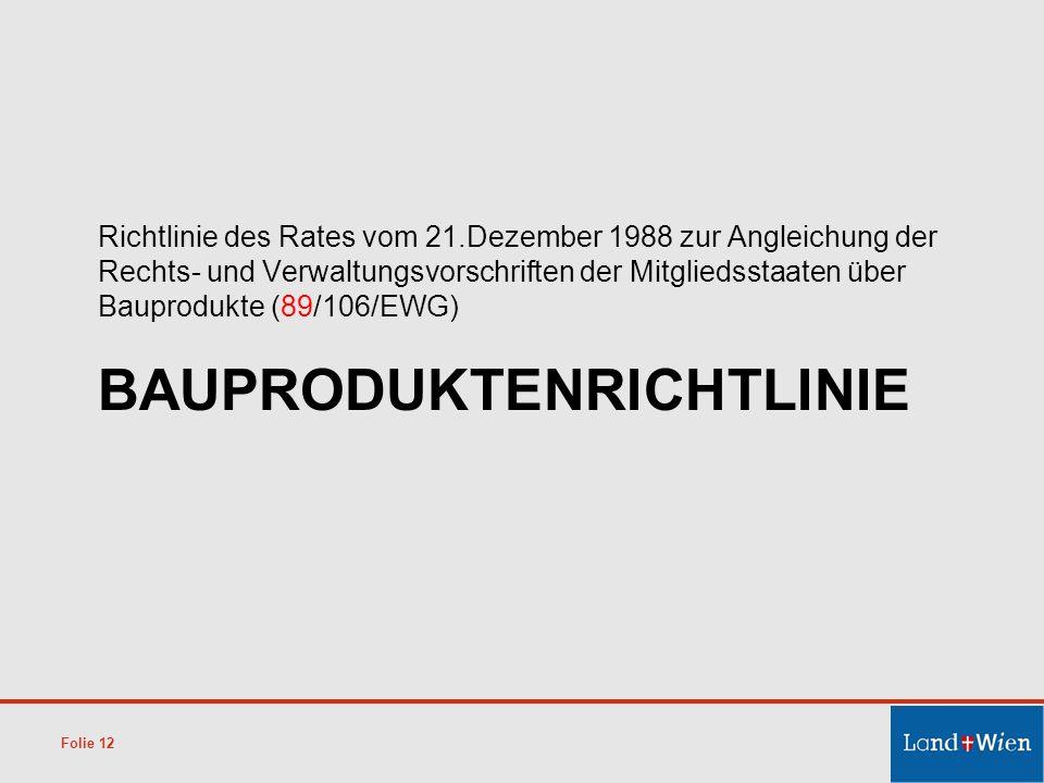 BAUPRODUKTENRICHTLINIE Richtlinie des Rates vom 21.Dezember 1988 zur Angleichung der Rechts- und Verwaltungsvorschriften der Mitgliedsstaaten über Bau