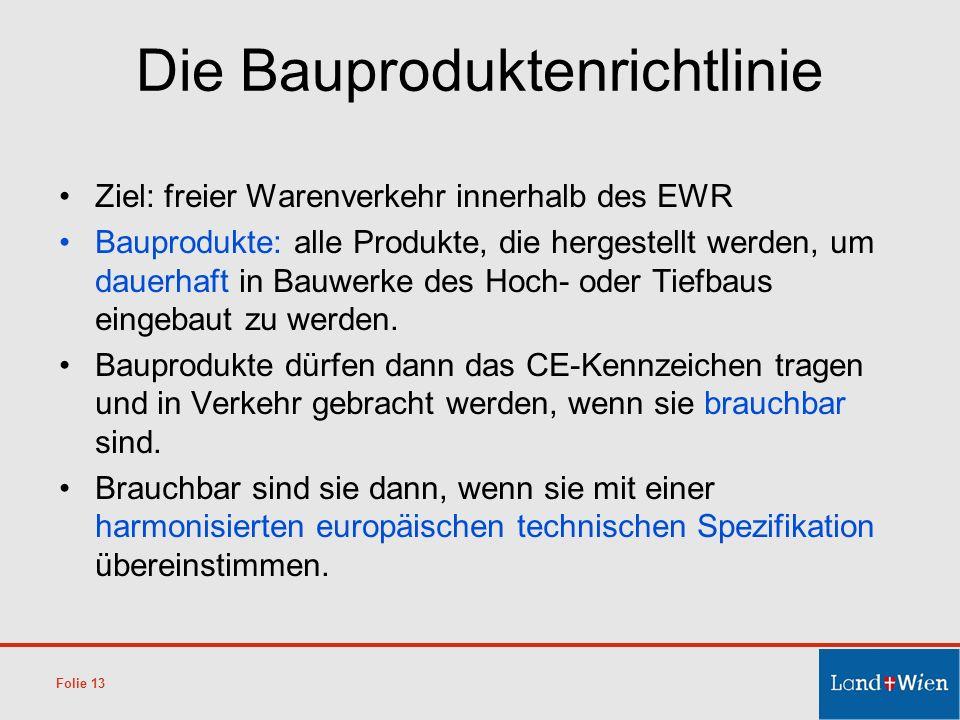 Die Bauproduktenrichtlinie Ziel: freier Warenverkehr innerhalb des EWR Bauprodukte: alle Produkte, die hergestellt werden, um dauerhaft in Bauwerke de