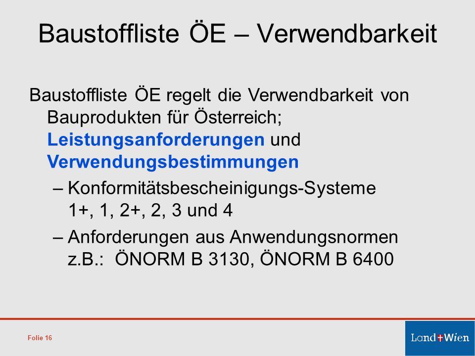 Baustoffliste ÖE regelt die Verwendbarkeit von Bauprodukten für Österreich; Leistungsanforderungen und Verwendungsbestimmungen –Konformitätsbescheinig
