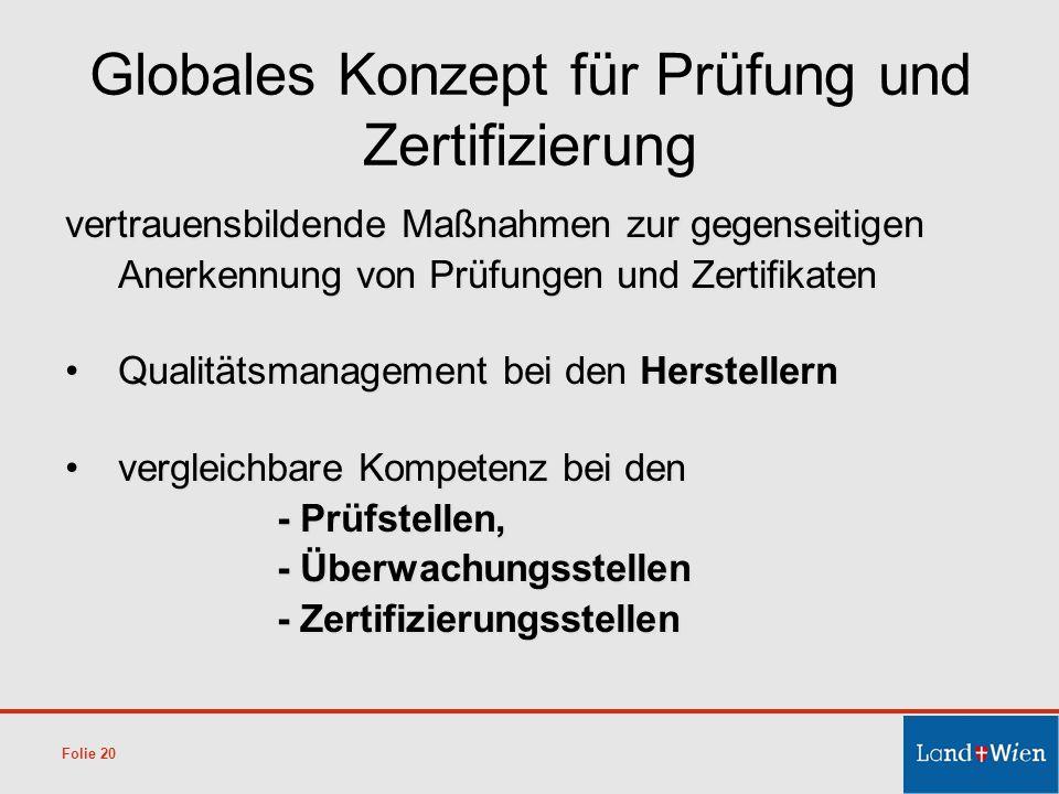 Globales Konzept für Prüfung und Zertifizierung vertrauensbildende Maßnahmen zur gegenseitigen Anerkennung von Prüfungen und Zertifikaten Qualitätsman