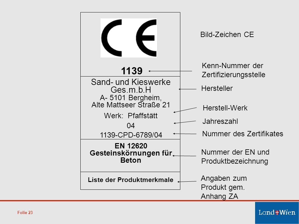 1139 Sand- und Kieswerke Ges.m.b.H A- 5101 Bergheim, Alte Mattseer Straße 21 Werk: Pfaffstätt 04 1139-CPD-6789/04 EN 12620 Gesteinskörnungen für Beton