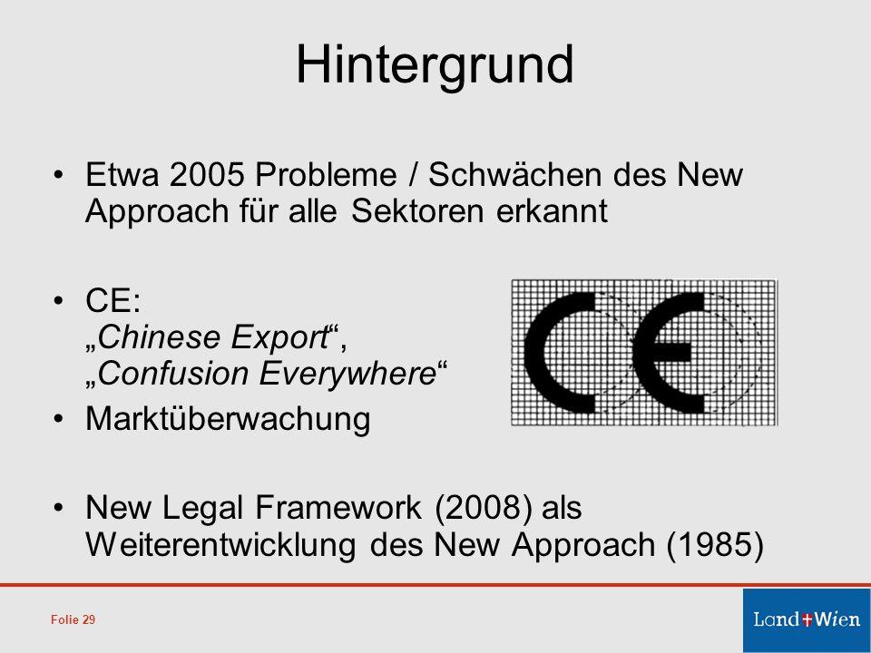 Hintergrund Etwa 2005 Probleme / Schwächen des New Approach für alle Sektoren erkannt CE:Chinese Export,Confusion Everywhere Marktüberwachung New Lega
