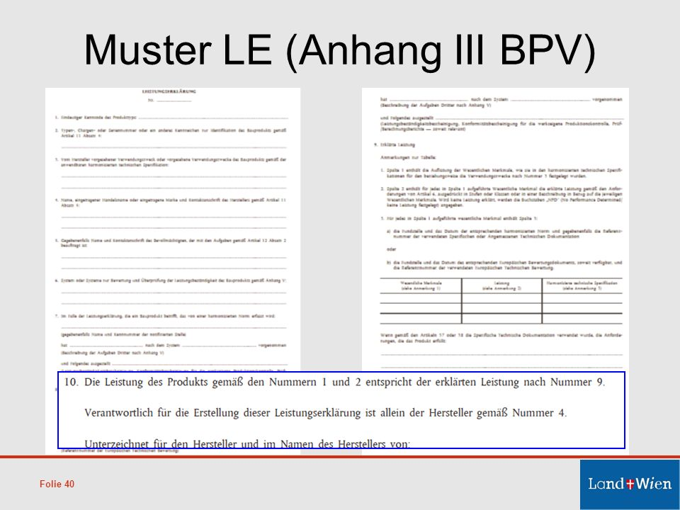 Muster LE (Anhang III BPV) Folie 40