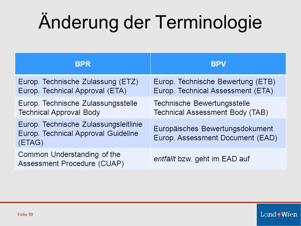 Änderung der Terminologie BPRBPV Europ. Technische Zulassung (ETZ) Europ. Technical Approval (ETA) Europ. Technische Bewertung (ETB) Europ. Technical