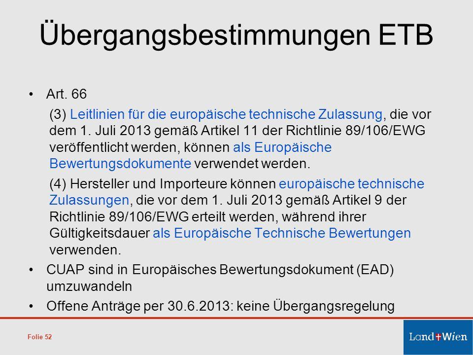 Übergangsbestimmungen ETB Art. 66 (3) Leitlinien für die europäische technische Zulassung, die vor dem 1. Juli 2013 gemäß Artikel 11 der Richtlinie 89