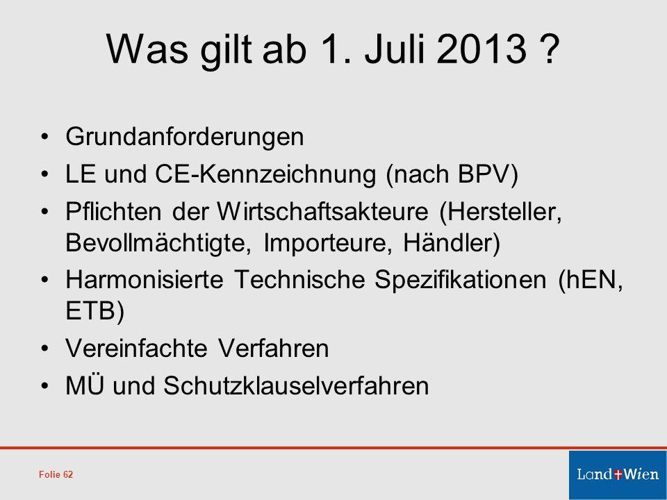 Was gilt ab 1. Juli 2013 ? Grundanforderungen LE und CE-Kennzeichnung (nach BPV) Pflichten der Wirtschaftsakteure (Hersteller, Bevollmächtigte, Import