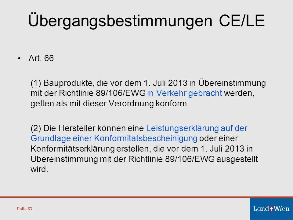 Übergangsbestimmungen CE/LE Art. 66 (1) Bauprodukte, die vor dem 1. Juli 2013 in Übereinstimmung mit der Richtlinie 89/106/EWG in Verkehr gebracht wer