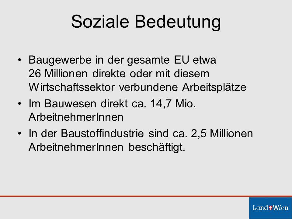 Soziale Bedeutung Baugewerbe in der gesamte EU etwa 26 Millionen direkte oder mit diesem Wirtschaftssektor verbundene Arbeitsplätze Im Bauwesen direkt