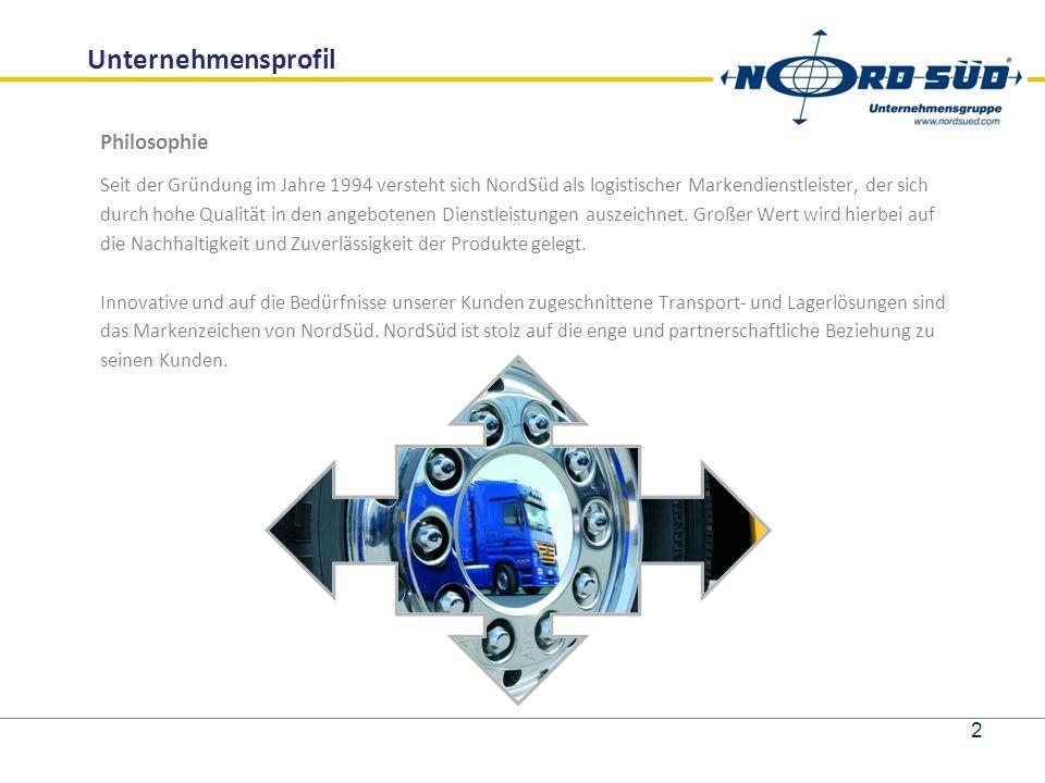 Unternehmensprofil Philosophie Seit der Gründung im Jahre 1994 versteht sich NordSüd als logistischer Markendienstleister, der sich durch hohe Qualität in den angebotenen Dienstleistungen auszeichnet.