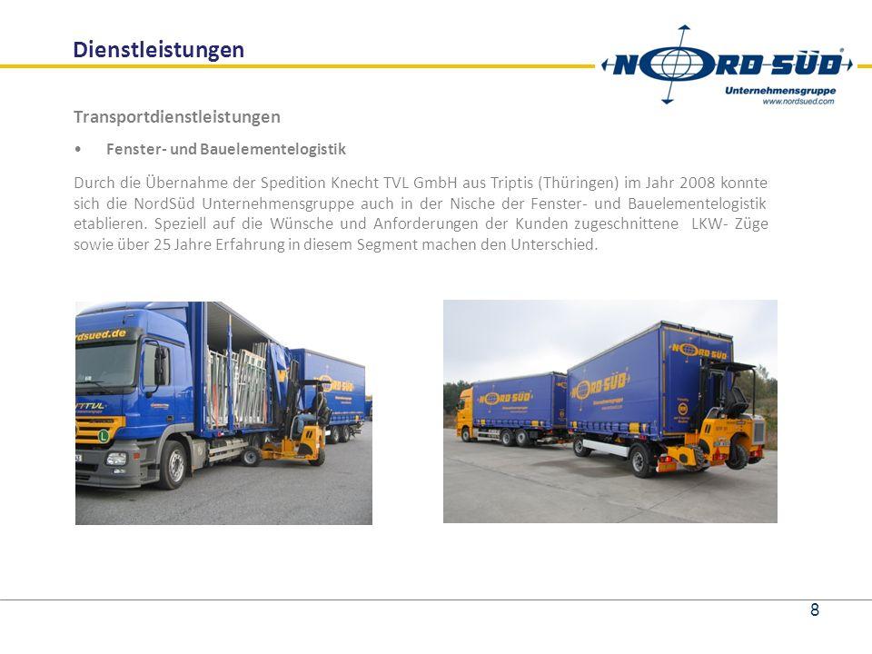 Dienstleistungen Transportdienstleistungen Fenster- und Bauelementelogistik Durch die Übernahme der Spedition Knecht TVL GmbH aus Triptis (Thüringen) im Jahr 2008 konnte sich die NordSüd Unternehmensgruppe auch in der Nische der Fenster- und Bauelementelogistik etablieren.
