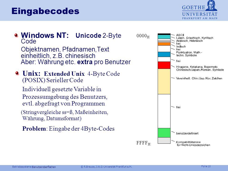 Betriebssysteme: © R.Brause, J.W.G-Universität Frankfurt a.M. Folie 9 Eingabecodes Eingaben EingabenText 7-Bit Code: ASCII American Standard Code for