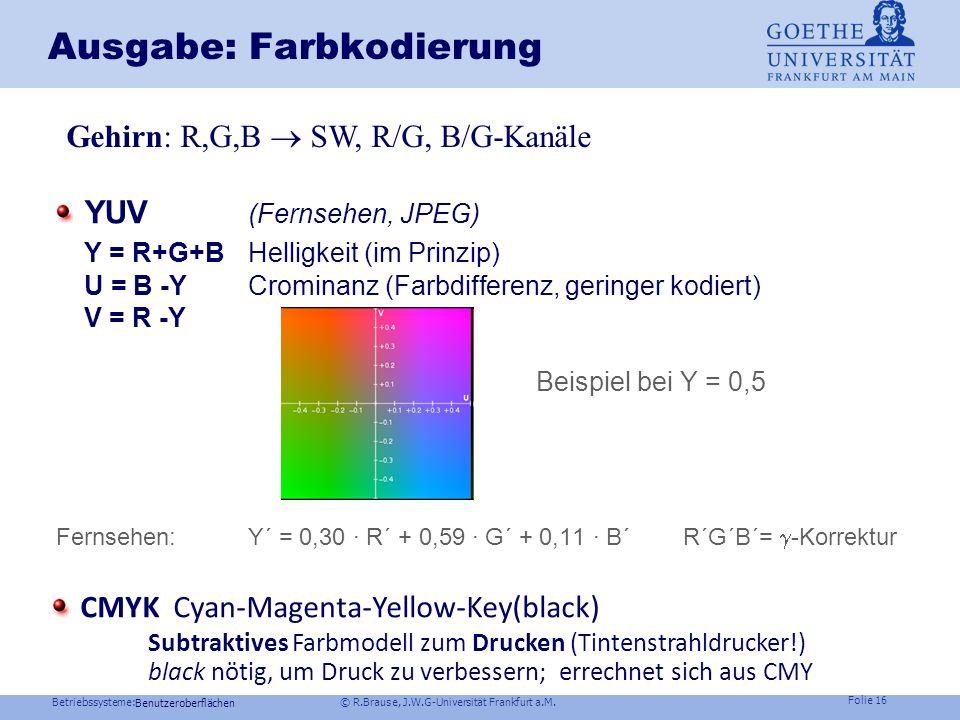Betriebssysteme: © R.Brause, J.W.G-Universität Frankfurt a.M. Folie 15 Ausgabe: Farbkodierung Farbräume Zerlegung in Einzelkomponenten (Additive Farbm
