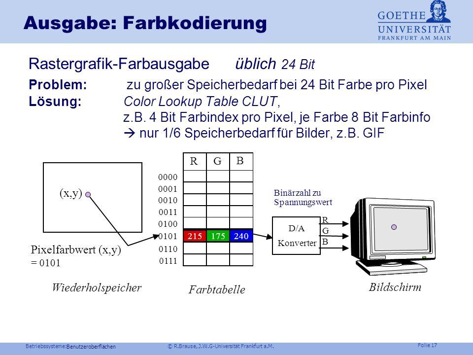 Betriebssysteme: © R.Brause, J.W.G-Universität Frankfurt a.M. Folie 16 Ausgabe: Farbkodierung YUV (Fernsehen, JPEG) Y = R+G+B Helligkeit (im Prinzip)