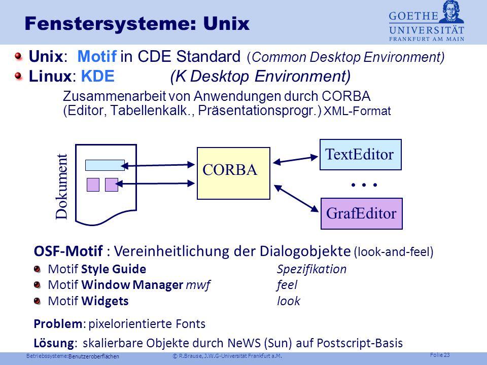 Betriebssysteme: © R.Brause, J.W.G-Universität Frankfurt a.M. Folie 22 Implementierungsfragen Sollen für Veränderungen Fensterpixel gepuffert (Refresh