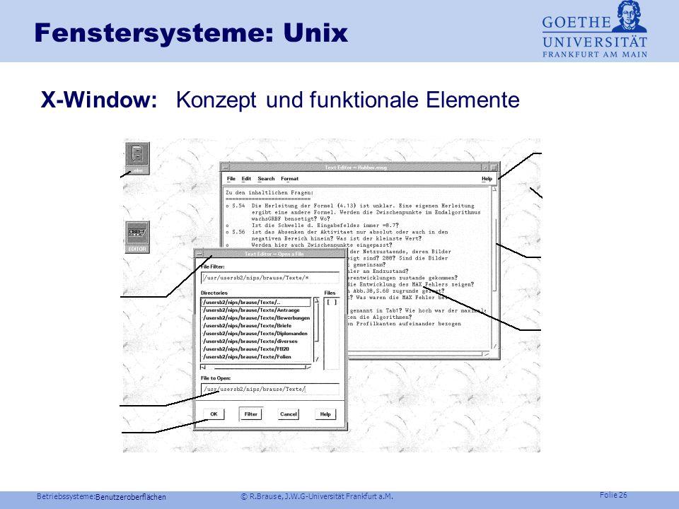 Betriebssysteme: © R.Brause, J.W.G-Universität Frankfurt a.M. Folie 25 AJAX Asynchroneous Java And XML Benutzeroberflächen Klassisch: Vollständig neue