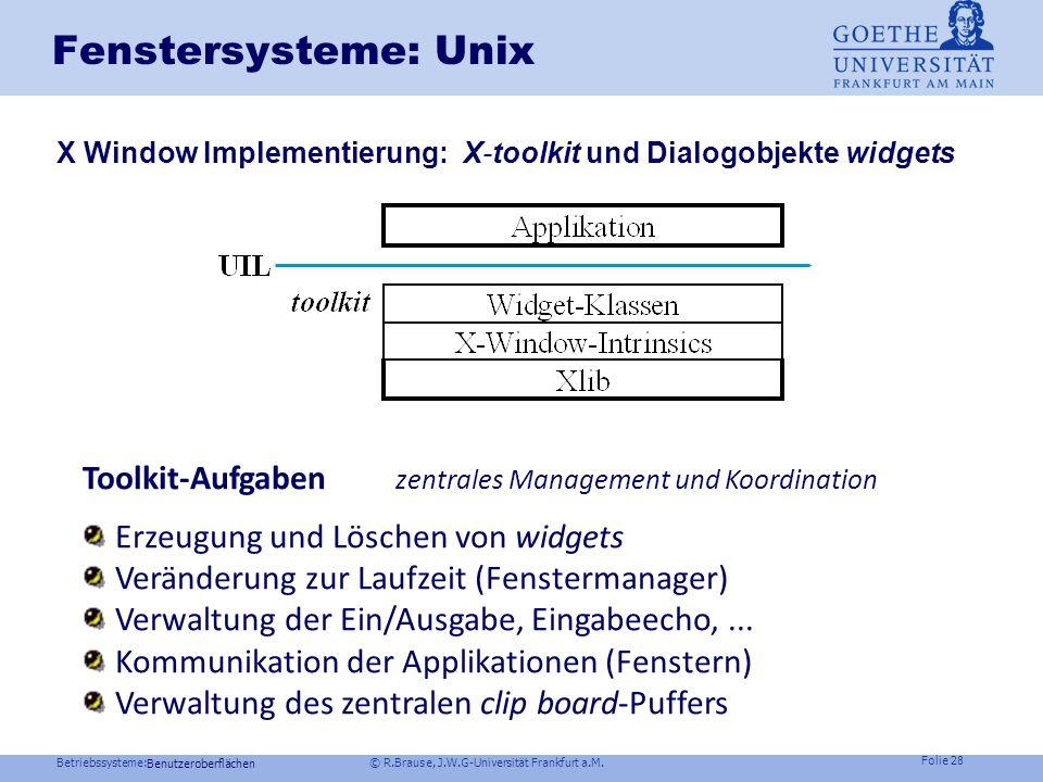 Betriebssysteme: © R.Brause, J.W.G-Universität Frankfurt a.M. Folie 27 Fenstersysteme: Unix X-Window Fensterkonzept: Fensterhierarchie Benutzeroberflä