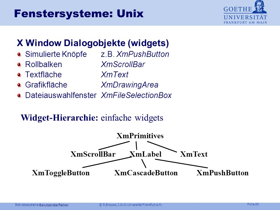 Betriebssysteme: © R.Brause, J.W.G-Universität Frankfurt a.M. Folie 28 Fenstersysteme: Unix X Window Implementierung: X-toolkit und Dialogobjekte widg