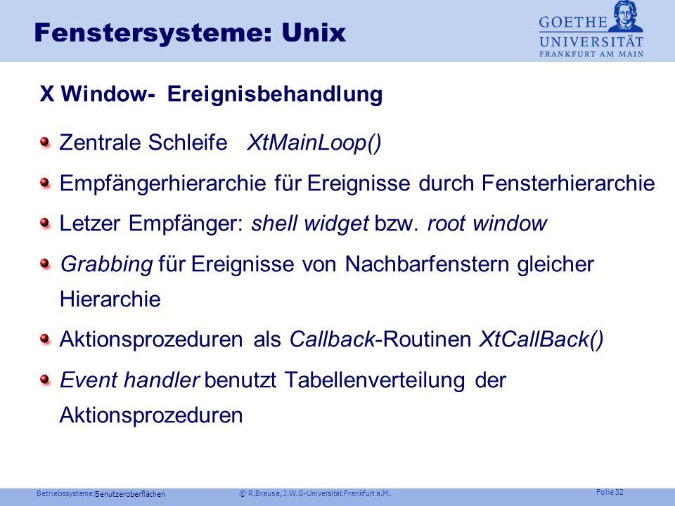 Betriebssysteme: © R.Brause, J.W.G-Universität Frankfurt a.M. Folie 31 Fenstersysteme: Ereignisbehandlung Grundstruktur Window manager InitProcess() L
