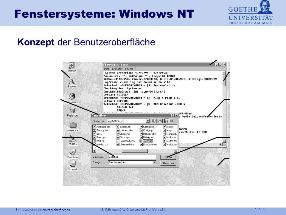 Betriebssysteme: © R.Brause, J.W.G-Universität Frankfurt a.M. Folie 32 Fenstersysteme: Unix X Window- Ereignisbehandlung Zentrale Schleife XtMainLoop(